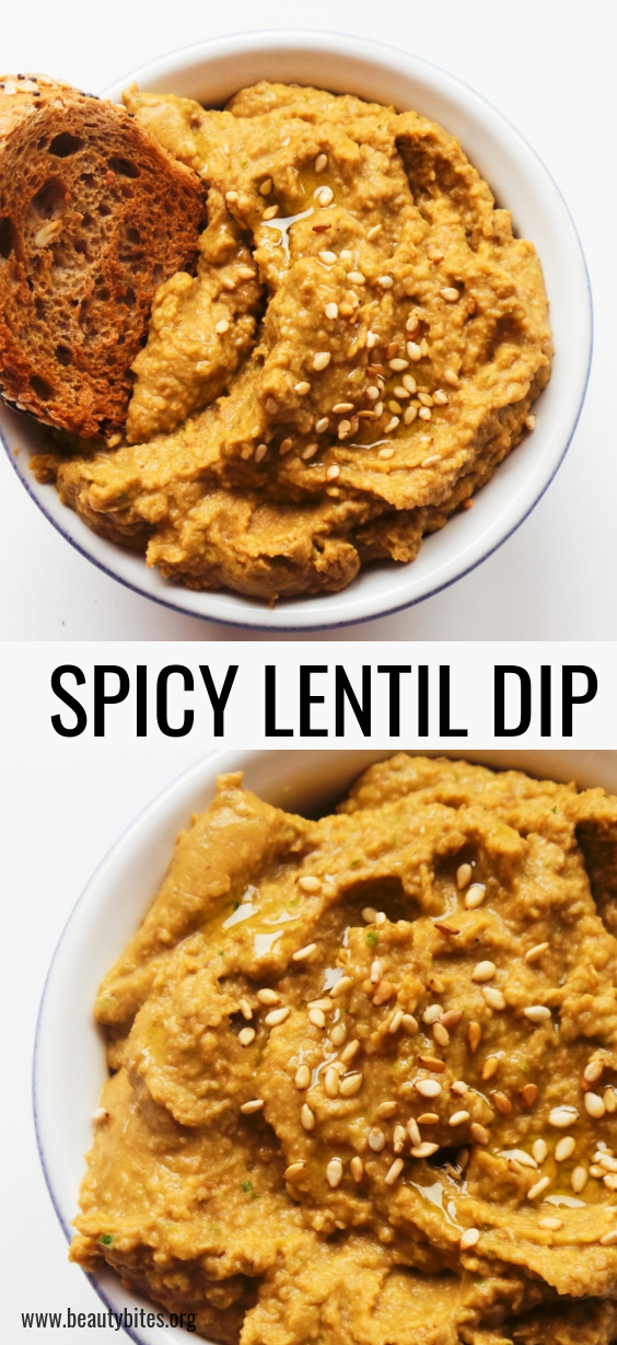 Spicy lentil dip - healthy and easy snack recipe you can make with leftover lentils, or if you don't have lentils - use beans! Works also! This lentil recipe is vegan and gluten-free.