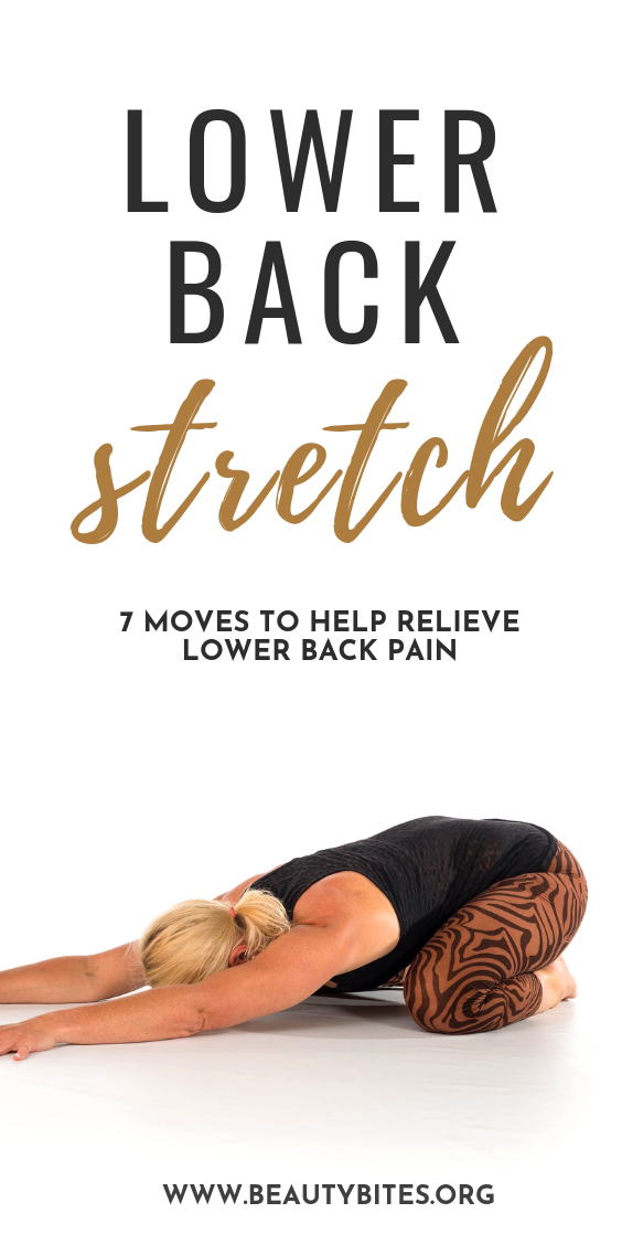 Lower back stretches and exercises to relieve lower back pain! Most of these are yoga stretches and strengthening Pilates exercises that can help alleviate back pain and make you feel better! Include these stretches and exercises in your daily yoga routine or workout routine to prevent injuries!