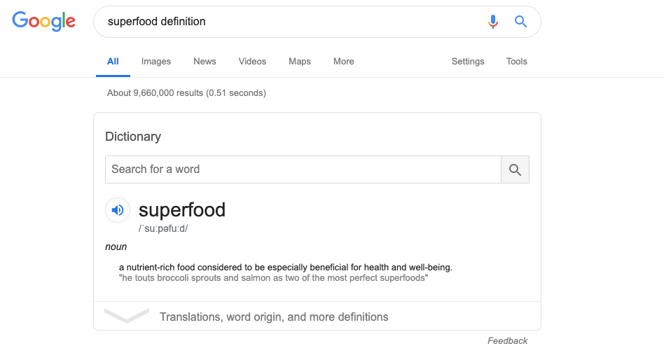 definition superfood, superfood list