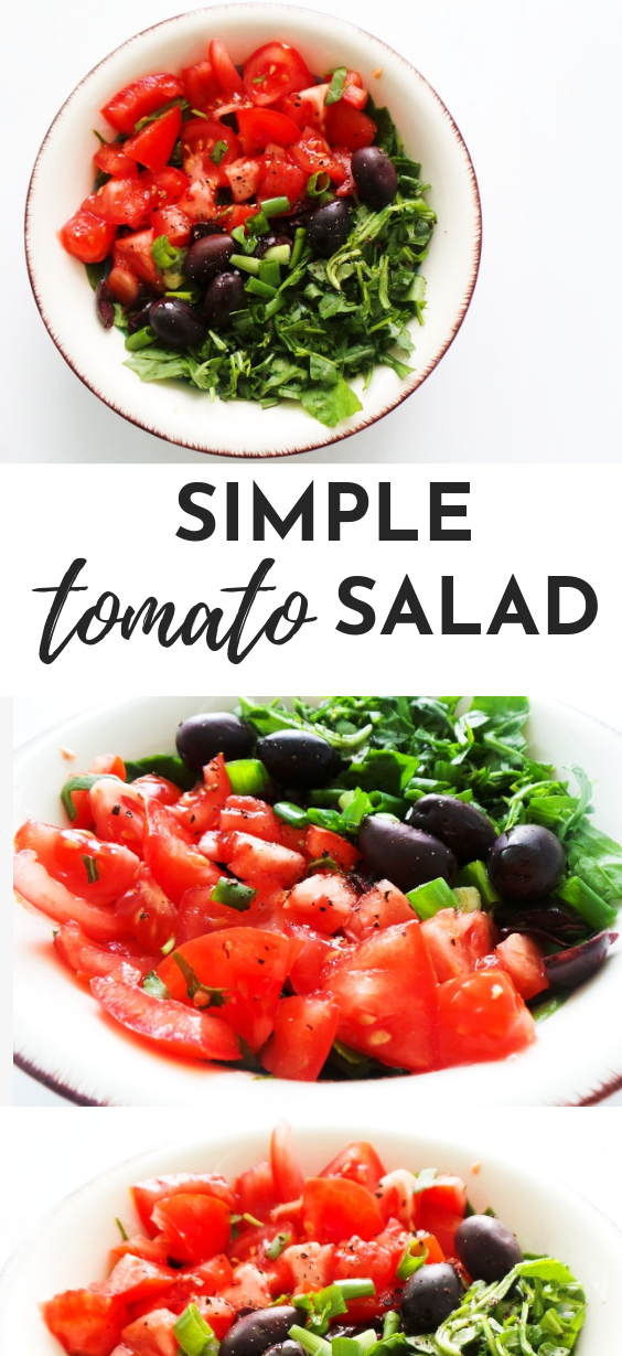 Simple tomato salad recipe! This healthy tomato recipe is delicious, easy and very refreshing. This simple healthy salad is a perfect side dish for summer!