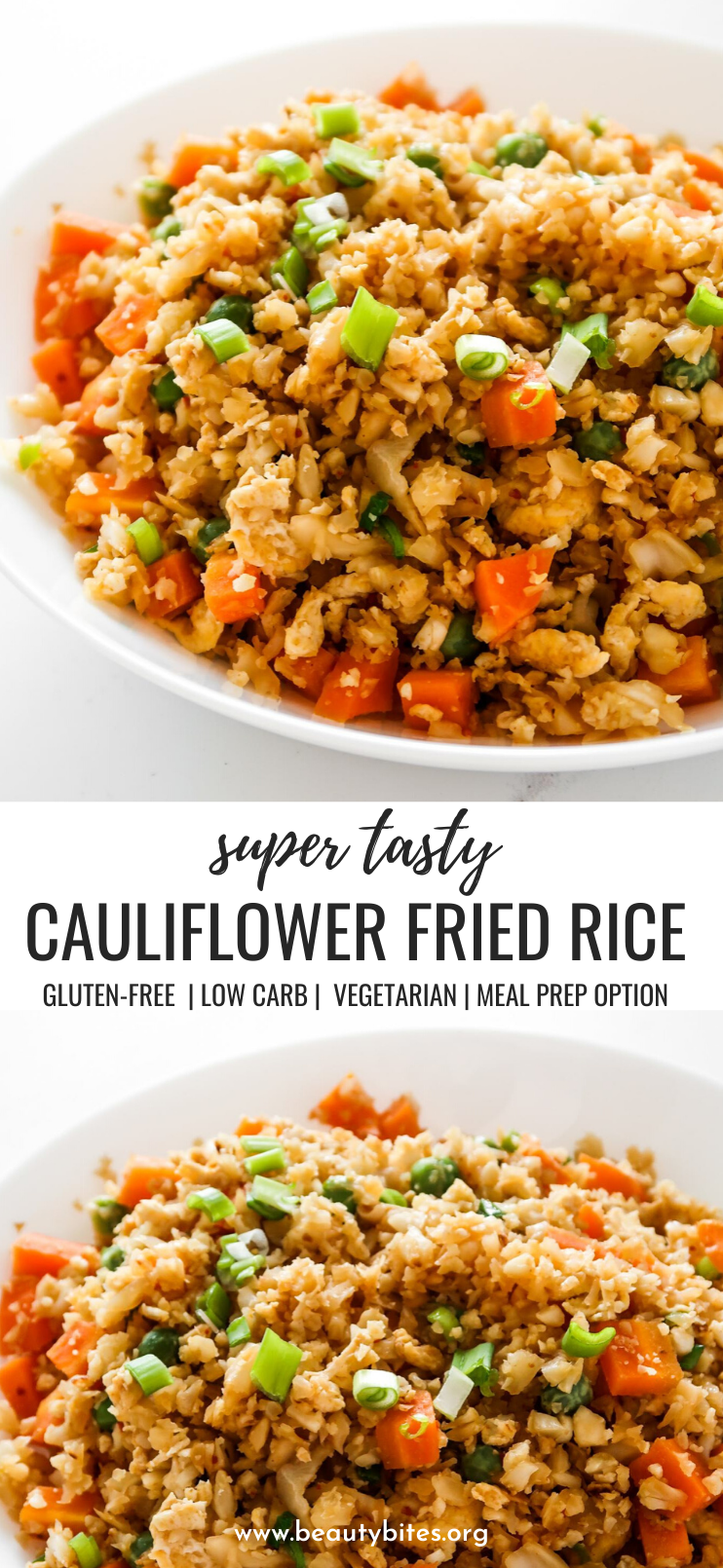 Easy cauliflower fried rice recipe! You'll need cauliflower, eggs, tamari or soy sauce, vegetables of choice and some oil to make this vegetarian low carb recipe from scratch! Only 30 minutes and you'll have a delicious, filling and healthy dinner on the table! This clean eating recipe is gluten-free, dairy-free, vegetarian and low carb and comes with an easy meal prep option. #healthy #recipe #easy #dinner #easydinner #cauliflower #friedrice #lowcarb #lowcarbdinner
