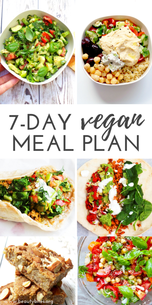 7-day vegan meal plan and vegan challenge! Challenge yourself to eat plant-based for a week to lose weight, feel great and improve your skin. This vegan meal plan features clean eating vegan breakfasts, vegan lunch ideas and vegan dinner ideas that will make you forget all about meat and cheese. Vegan Grocery List | Clean Eating Recipes | Vegan Recipes