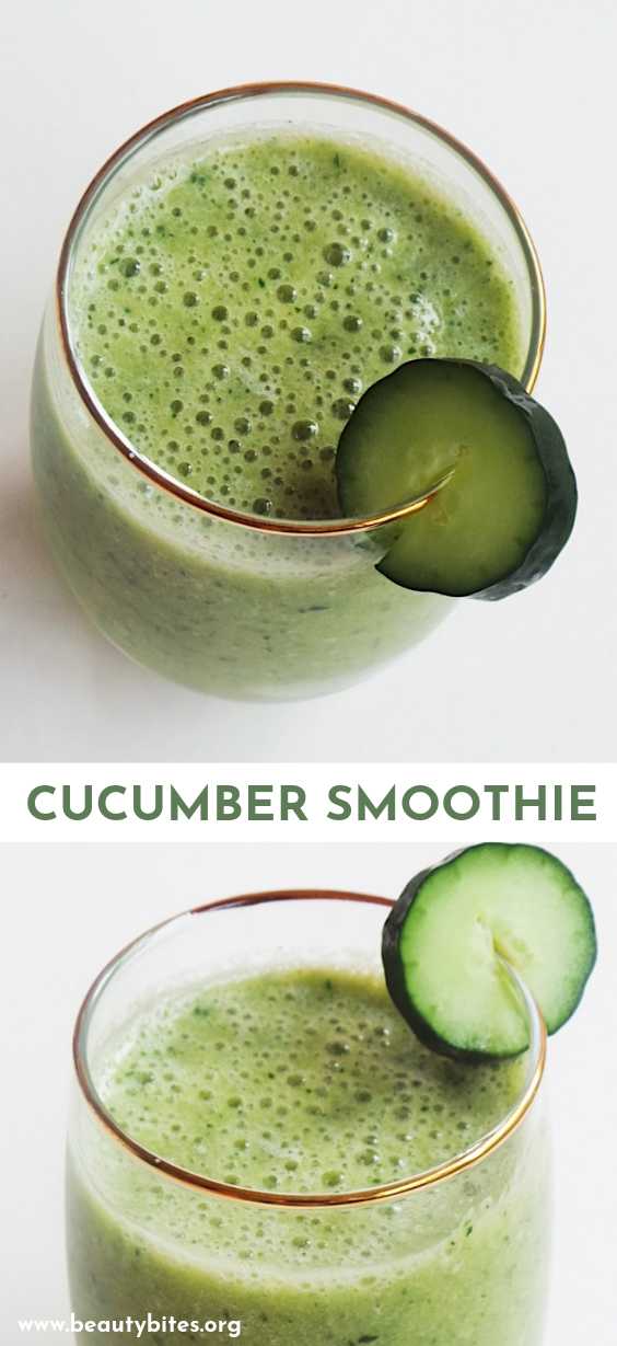 Quick and easy healthy smoothie recipe - a cucumber smoothie made with cucumber, banana, parsley and peach! Refreshing healthy snack!