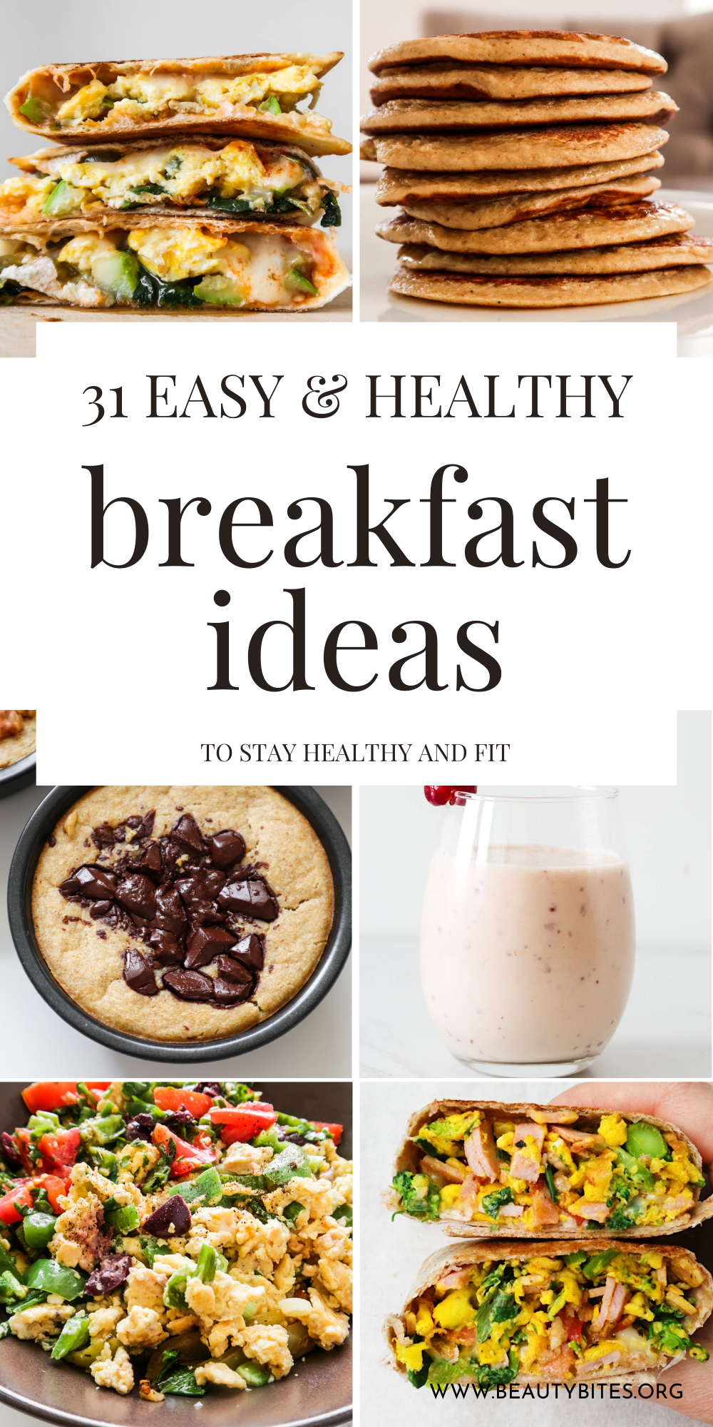 30+ easy healthy breakfast recipes that you'll love! This is a collection savory and sweet breakfast ideas that include healthy pancakes, breakfast muffins, breakfast quesadillas, breakfast burritos, overnight oats, oatmeal recipes and more! Easy and delicious recipes that are easy to meal prep and kid-friendly for the most part!
