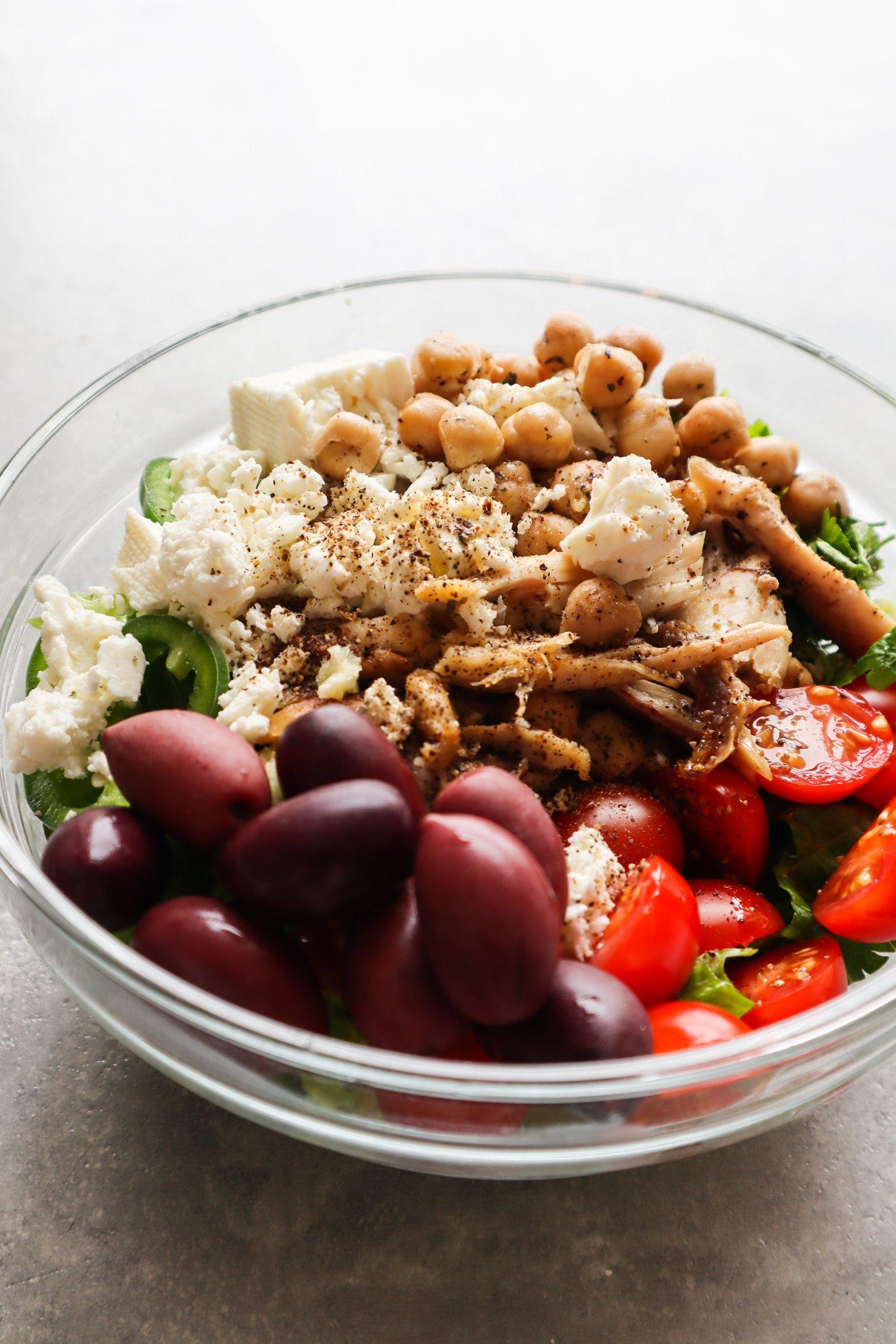 Chicken, chickpea, feta salad - easy Mediterranean diet recipes