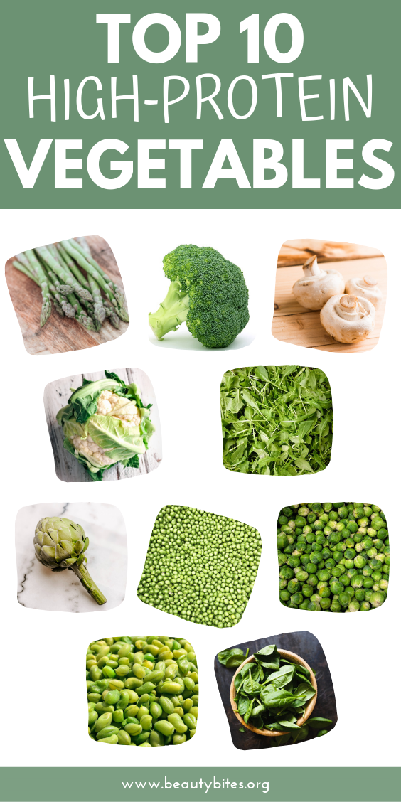 Top 10 high-protein vegetables! Perfect to make high-protein meals for breakfast, lunch, dinner or as a snack (even vegetarian!)! Also good for high-protein smoothies and shakes! | Clean eating for beginners | high-protein recipes
