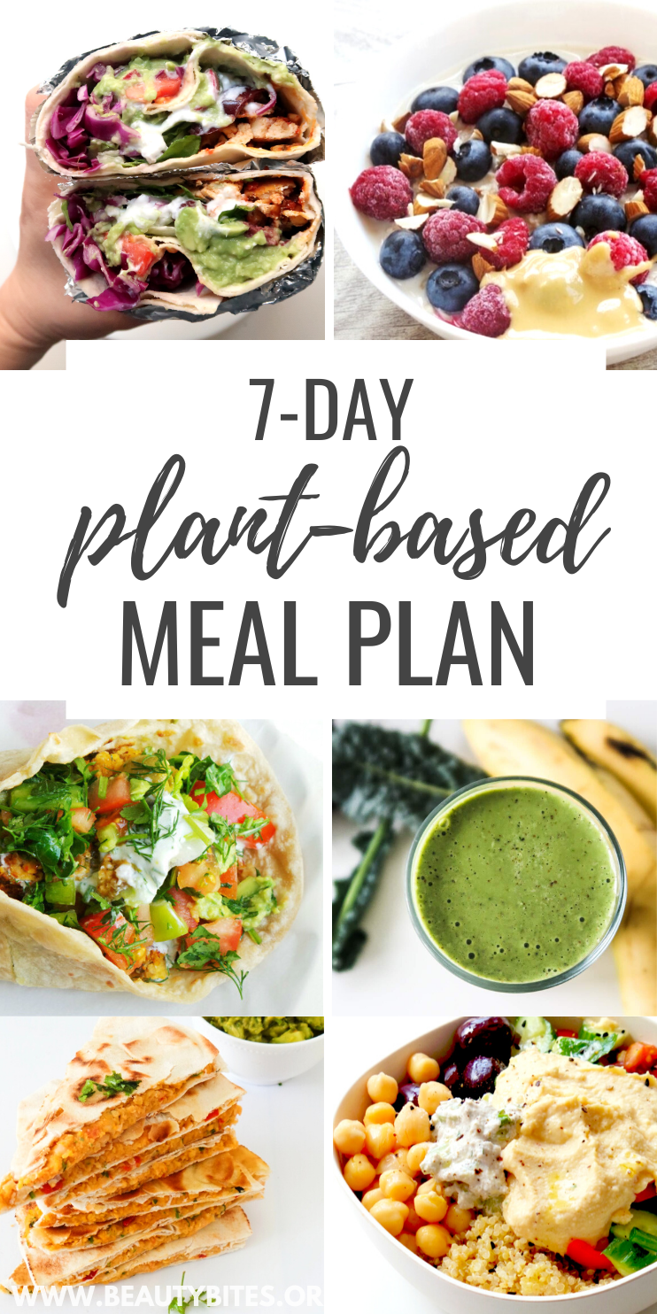 7-Day healthy vegan meal plan with vegan recipes and vegan meal prep ideas! This plant based meal plan includes easy vegan dinner recipes, vegan breakfast ideas, vegan lunch ideas and a vegan grocery list!