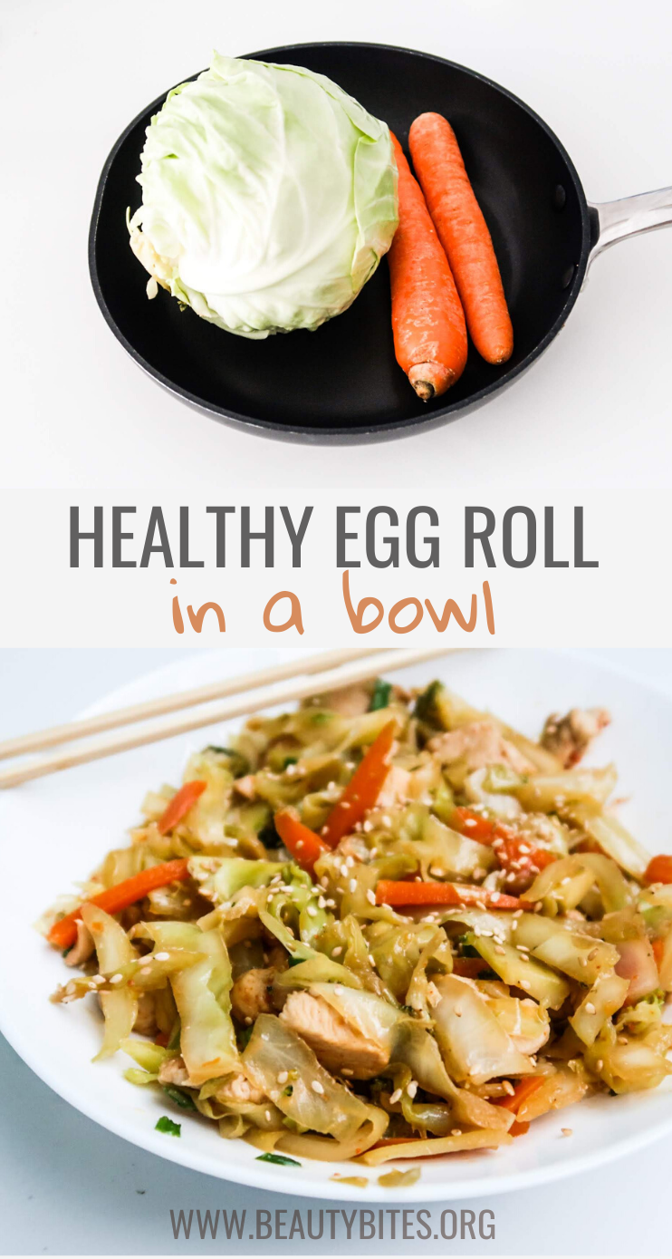 Healthy Egg Roll In A Bowl - a delicious recipe with cabbage, chicken and carrots! So easy and so good you'll want to make this healthy and easy low carb dinner again and again!