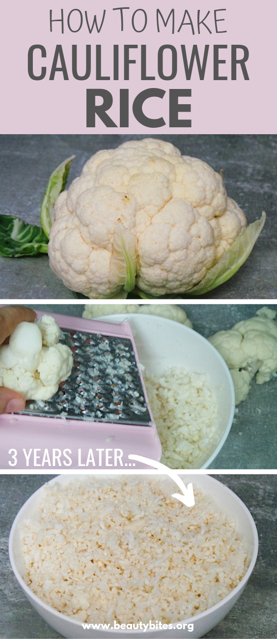 How to make cauliflower rice without a food processor, you'll only need a grater to make your own cauliflower rice at home and use it in low carb recipes like this cauliflower fried rice recipe!