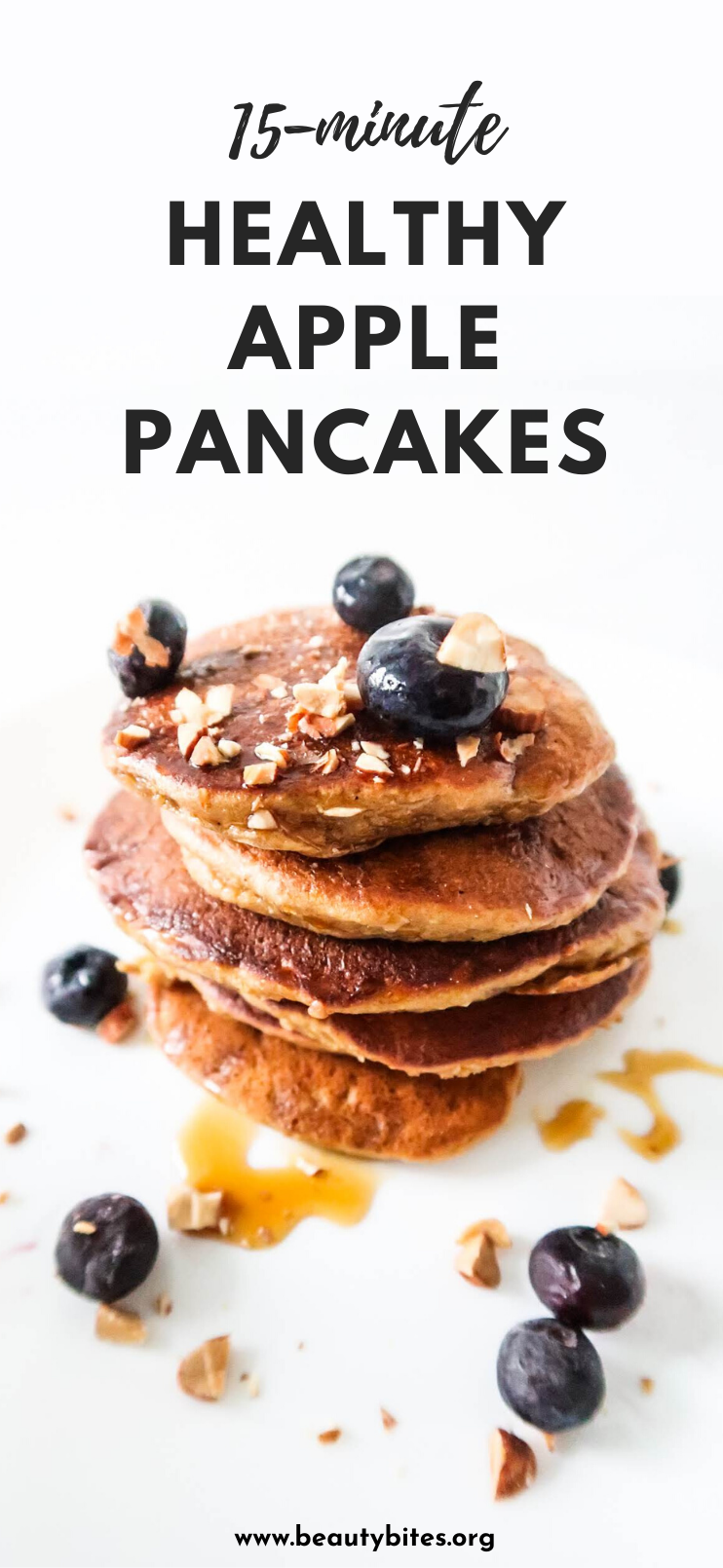 Healthy breakfast apple pancakes! These apple oatmeal pancakes are absolutely delicious and so easy to make - it takes around 15 minutes and you'll want to make them again and again! Easy clean eating breakfast recipe