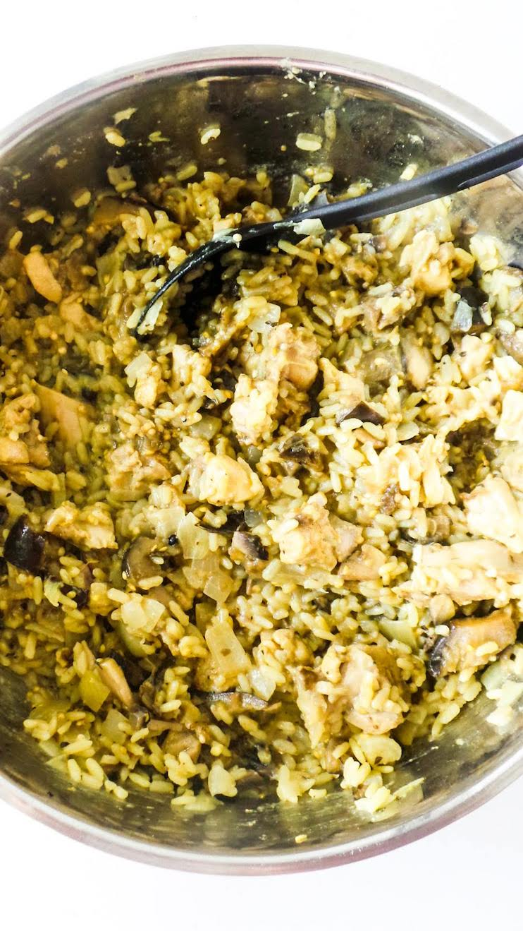 Homemade Chicken And Rice With Mushrooms! This simple chicken dinner recipe is easy to make, gluten-free and dairy-free and really delicious!