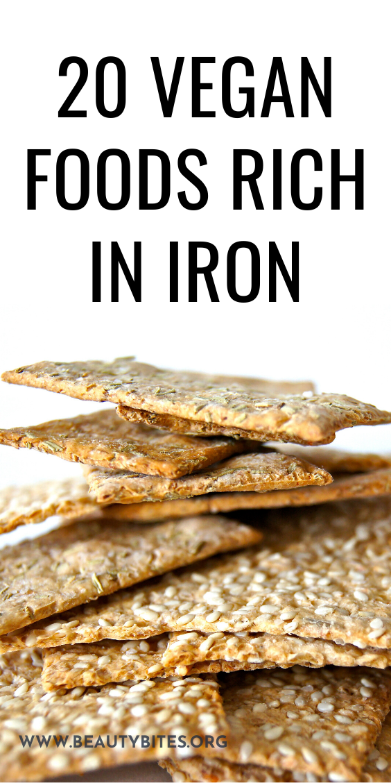 20 vegan foods that are rich in iron! These iron-rich foods are the perfect addition to your vegan meals to make them more nutrient-dense and delicious! #iron #vegan