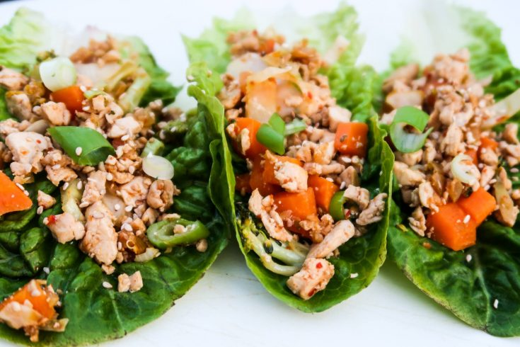 Easy healthy lettuce wraps! These low carb vegan lettuce wraps are made with tofu, vegetables, tamari sauce and spices! Light and delicious they're great as a snack or a side to your dinner! | clean eating recipes | clean eating for beginners