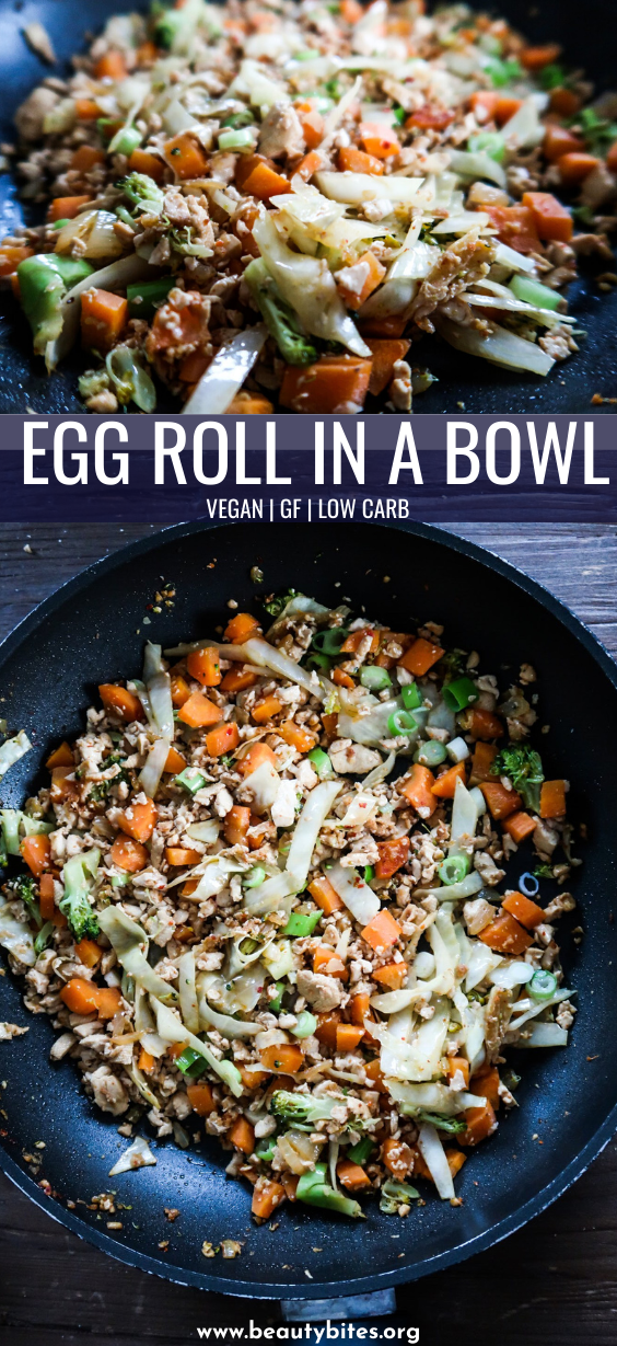 Vegan egg roll in a bowl is a healthy and easy vegan dinner recipe that you can make in 25 minutes with basic ingredients. This vegan low carb recipe is also gluten free and high protein and it's delicious. #vegan #dinner #easy #recipe #lowcarb #tofu
