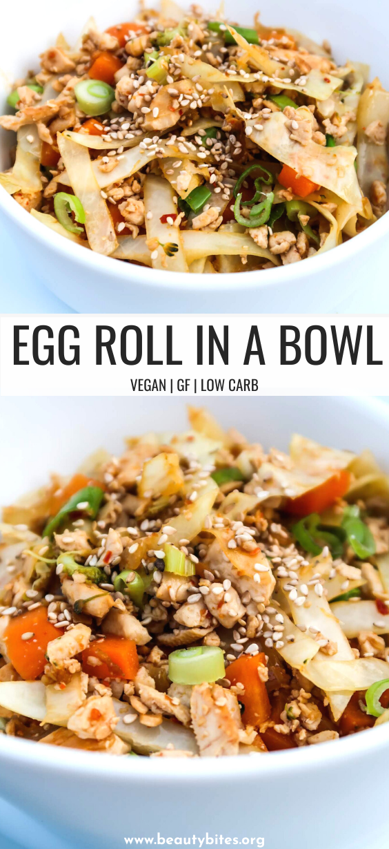 Vegan egg roll in a bowl! If you love egg rolls, this high protein vegan recipe will be similar, but much healthier. This low carb vegan dinner recipe can be ready in 25 minutes! #vegan #dinner #easy #recipe #lowcarb #tofu
