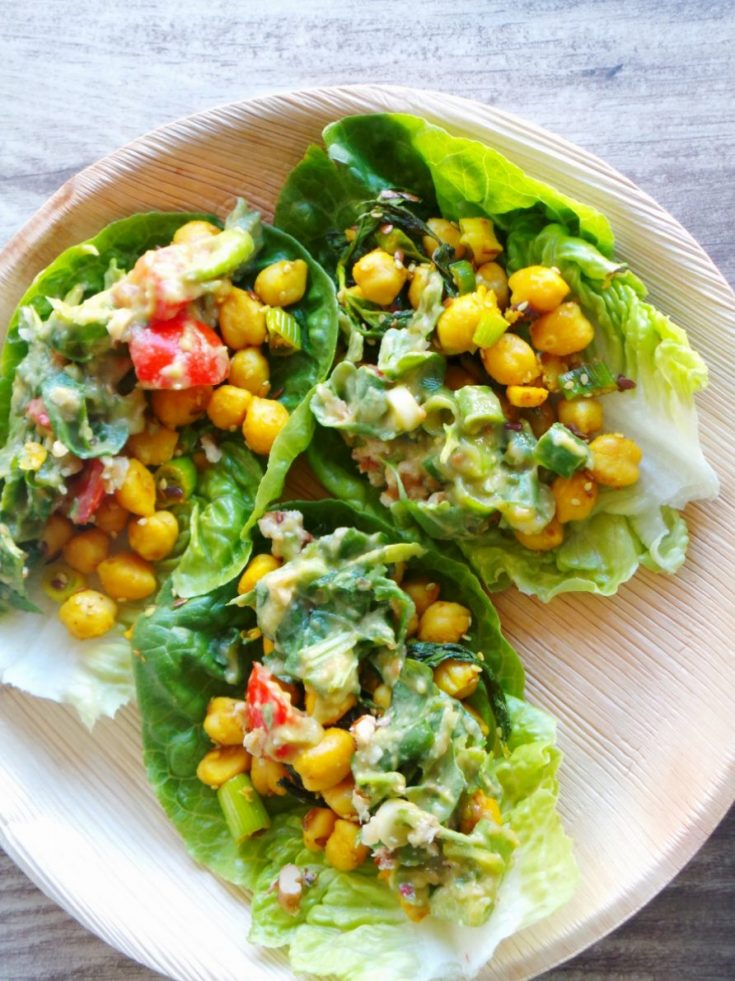 Curried chickpea lettuce wraps - easy anti-inflammatory recipe great for lunch or dinner. This easy chickpea recipe is vegan, gluten-free and delicious!