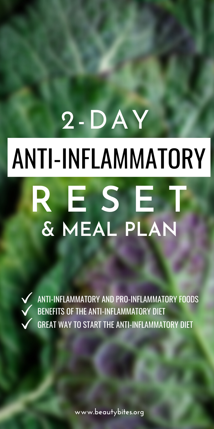 2-Day anti-inflammatory reset with easy anti-inflammatory recipes! Learn more about inflammation, why an anti-inflammatory diet is important, what are the anti-inflammatory foods, which foods are pro-inflammatory and why this anti-inflammatory reset / anti-inflammatory diet meal plan are a great way to get started. The reset is absolutely free.