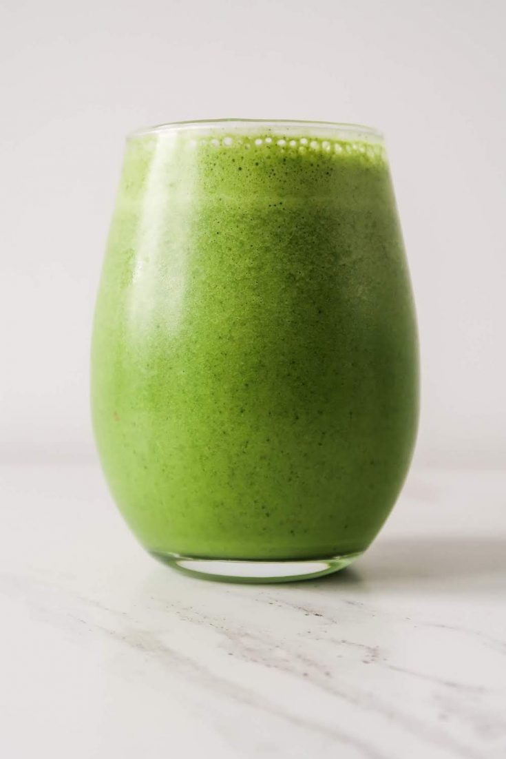 Healthy green smoothie with a tropical twist! This tropical green smoothie is great for breakfast or a snack - it will give you the energy and nutrients you need to make this day a better one! This healthy drink can also help with your digestion and your skin!