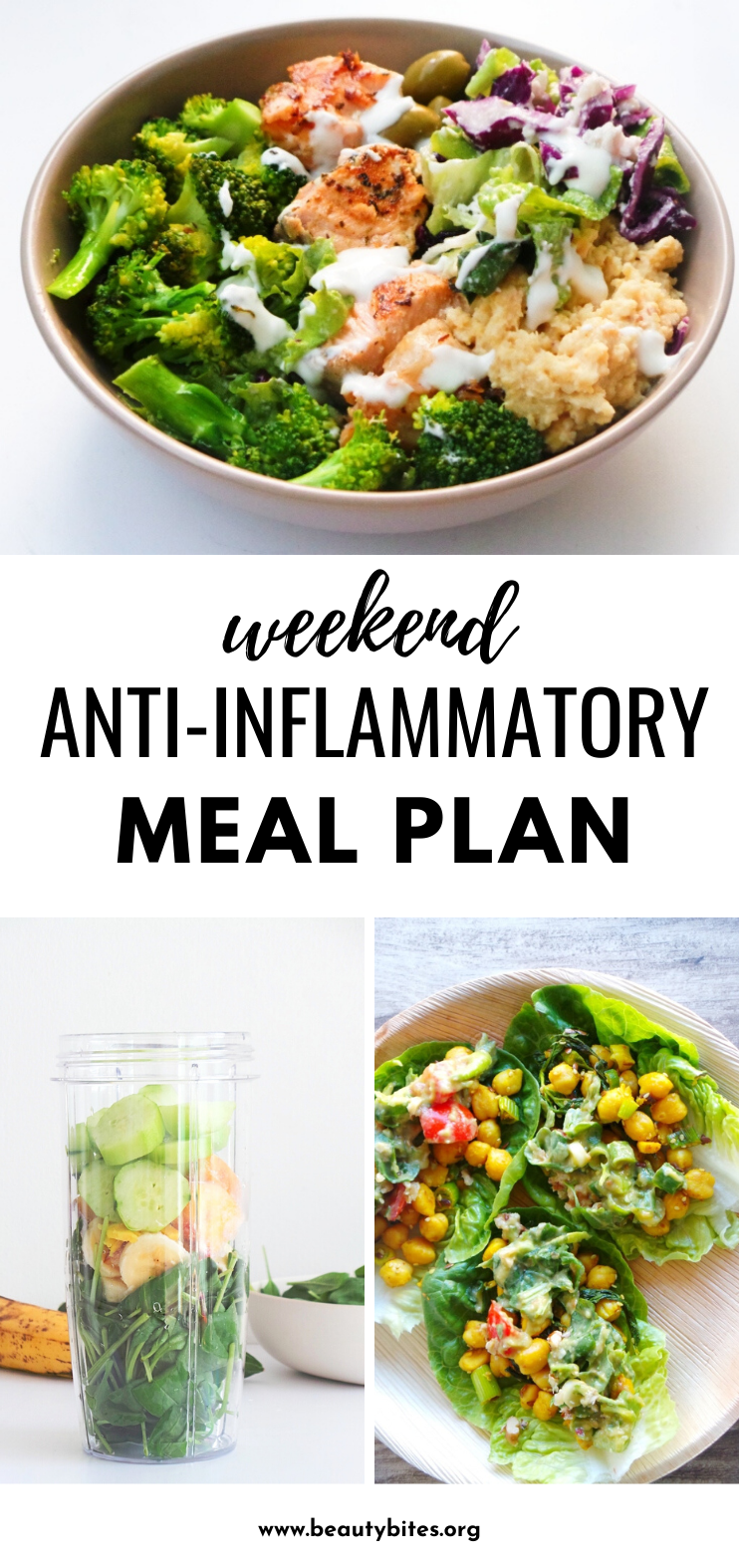 A simple weekend anti-inflammatory meal plan! This is a two-day reset to reduce inflammation by adding more anti-inflammatory foods like fresh vegetables and fish into our diet and leaving out inflammatory foods like red meat, sugar and oils. This healthy meal plan is a great start to the anti-inflammatory diet.