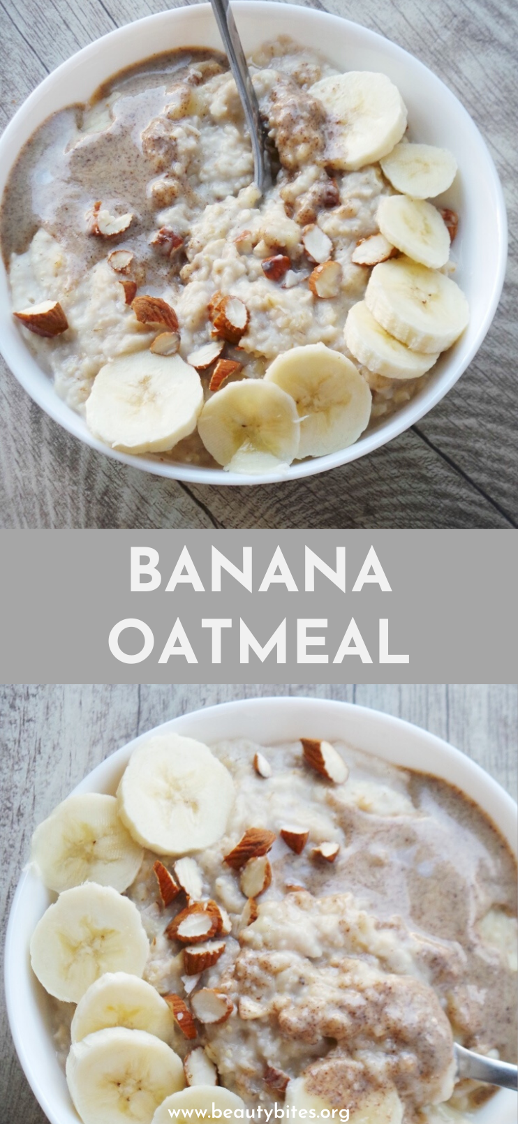 Banana oatmeal recipe with almond butter! Learn how to make oatmeal on the stove with this easy healthy oatmeal recipe - it's very easy and simple and you need about 10 minutes. I kept the toppings quite simple, still, this vegan oatmeal is delicious, filling, satisfying and a perfect healthy breakfast recipe for winter and cold days!
