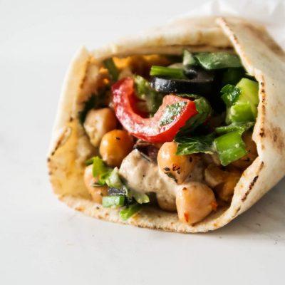 Mediterranean Chickpea Wraps (Meal Prep Option)