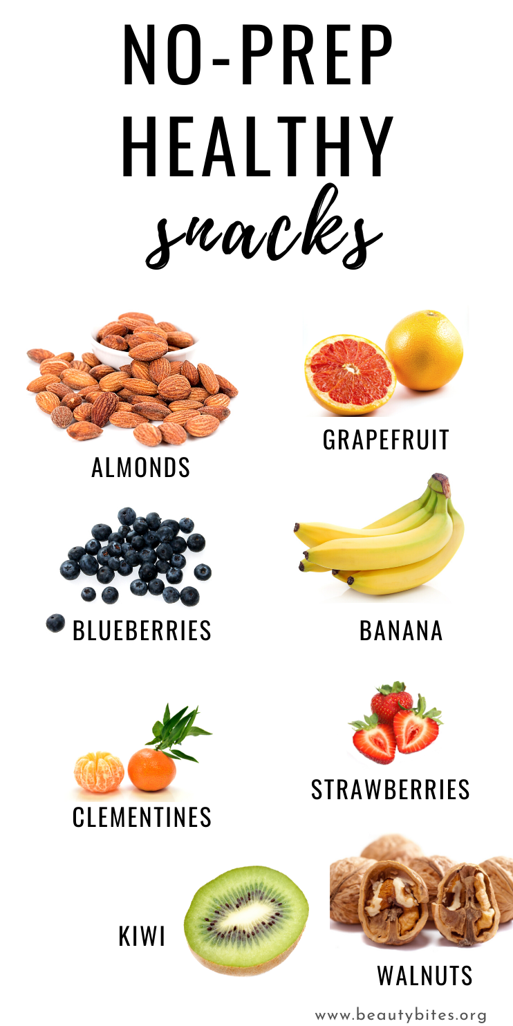 No-Prep Easy Healthy Snack Ideas! These clean eating snacks are simple and easy to take on the go and perfect for in between when you're craving something small. You can definitely have these snacks when you're going through the 7-Day clean eating challenge, whether you're following the clean eating meal plan or not!