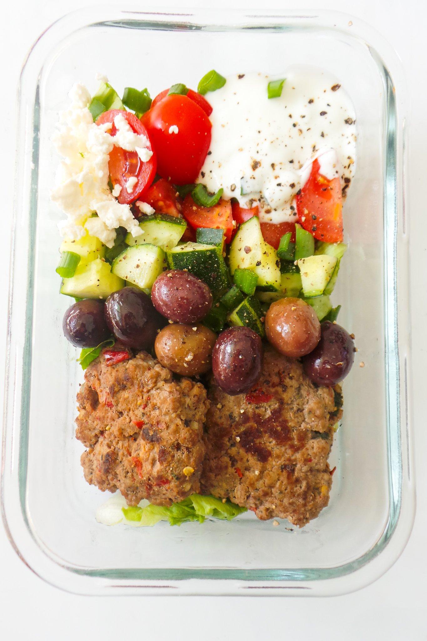 healthy Greek meatball bowls!