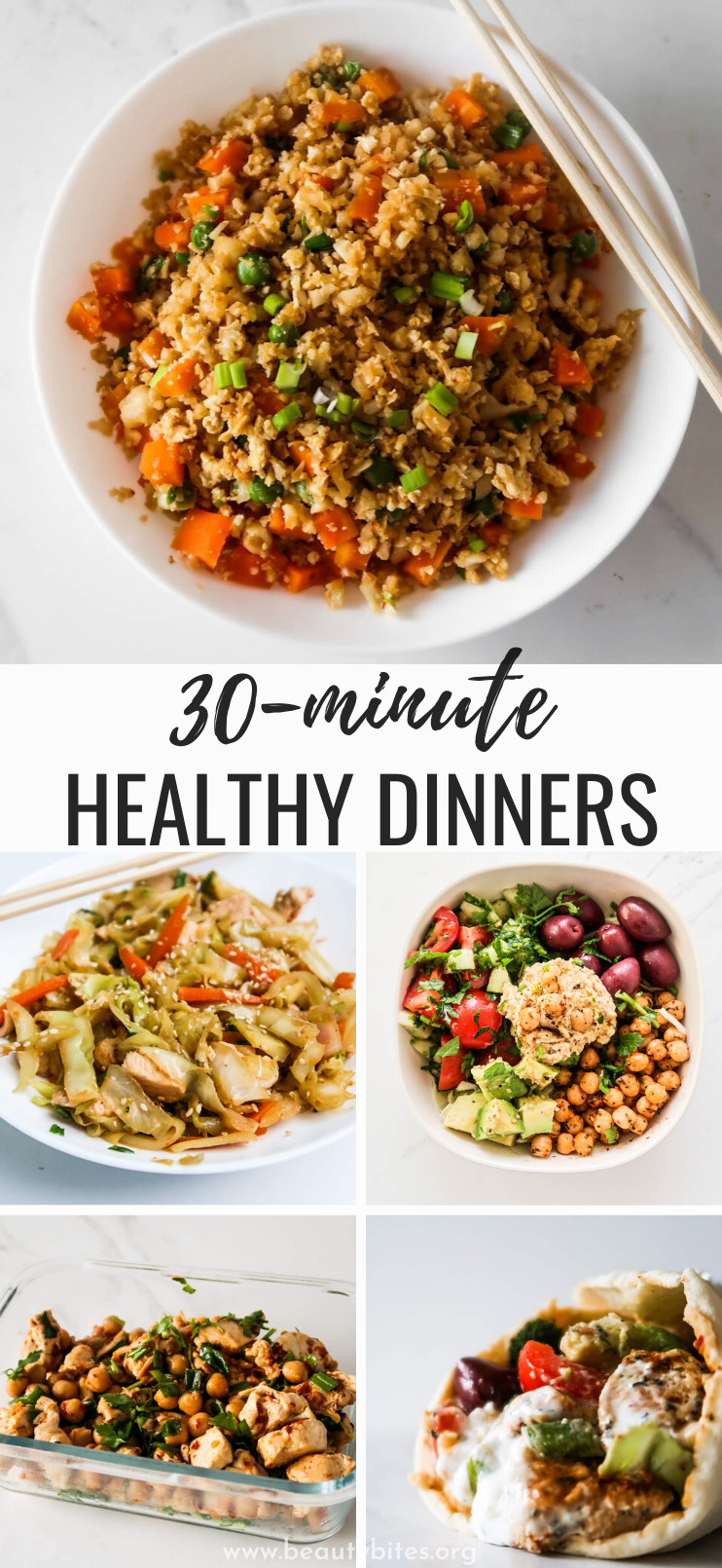 Looking for some easy healthy dinner recipes that aren't chicken with broccoli? These healthy meal ideas will help you get your clean eating dinner ready in less than 30 minutes. This list features healthy chicken recipes, easy seafood and salmon recipes, healthy fried rice options, healthy Mediterranean diet recipes, healthy ground beef recipes and delicious vegetarian and vegan dinner recipes!