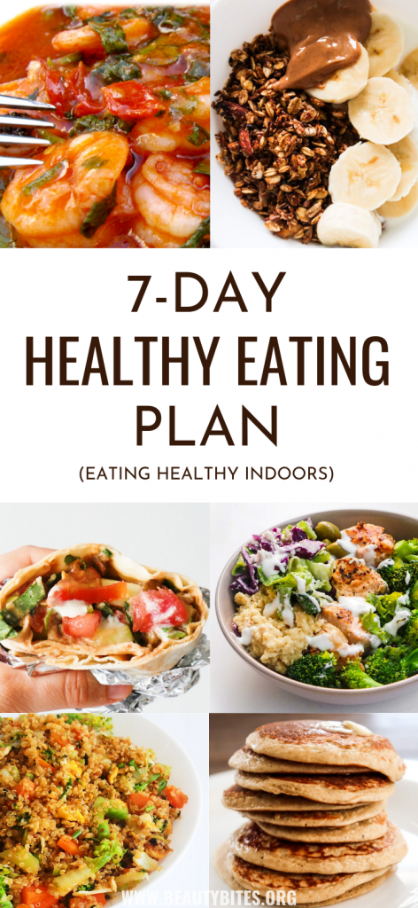 7-Day healthy eating plan to lose weight (or keep a healthy weight!),  to have more energy and feel better! No more excuses, with this clean eating meal plan it's easy to eat healthy on a budget. This meal plan features easy healthy recipes for dinner, lunch, breakfast and snacks that are easy to meal prep for the week. These are great healthy eating beginner recipes - most take 30 minutes or less and are made with easy to find ingredients, for most you also need only one pan (or bowl)