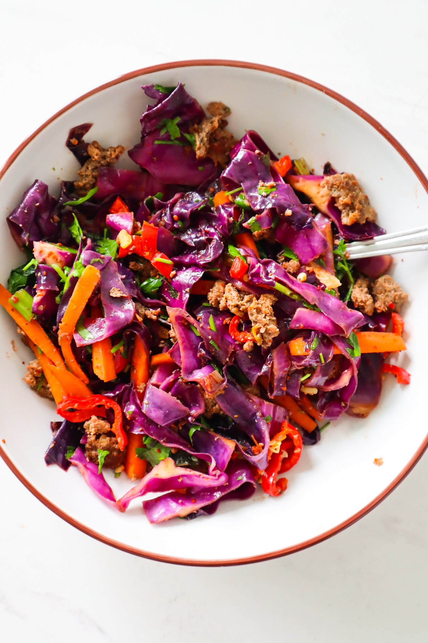 cabbage and beef stir-fry