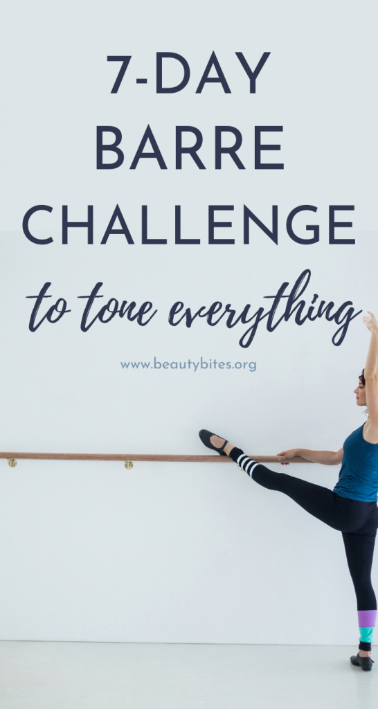 7-day barre workout challenge! Start this one week barre workout plan to be healthier, calmer, stronger and more confident. This plan features lower body barre routines, upper body barre exercises as well as HIIT and full-body barre workouts.