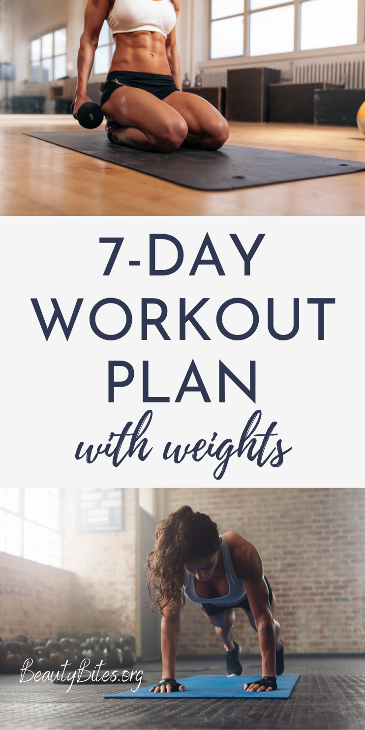 7-Day at home workout plan with weights that is made for women! You can do all of these strength training workouts and exercises at home using dumbbells or whatever weights you have at home. This weekly workout schedule will help you gain strength, lose weight and fat and become leaner.
