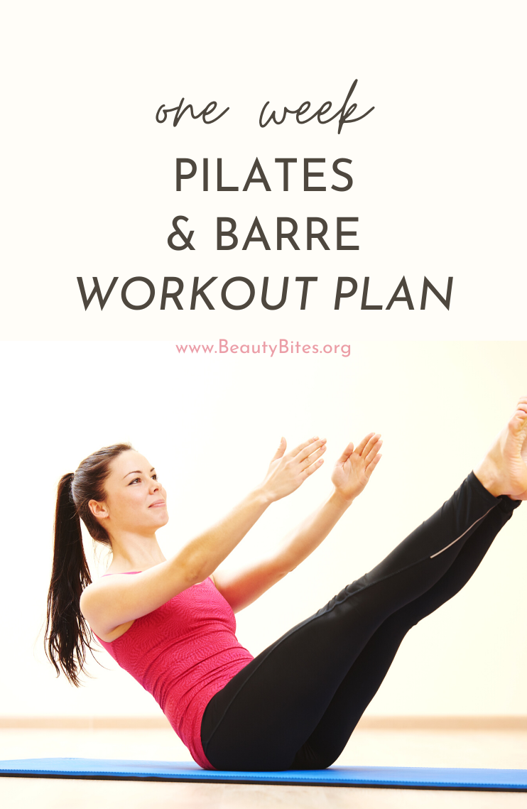 One week pilates and barre workout challenge! This one week at home workout plan features barre workouts and Pilates workouts to help you feel lean, calm and strong, even when you're staying mostly at home these days! I've found these barre and Pilates routines are the perfect way to start your day - you feel happier and more productive immediately!