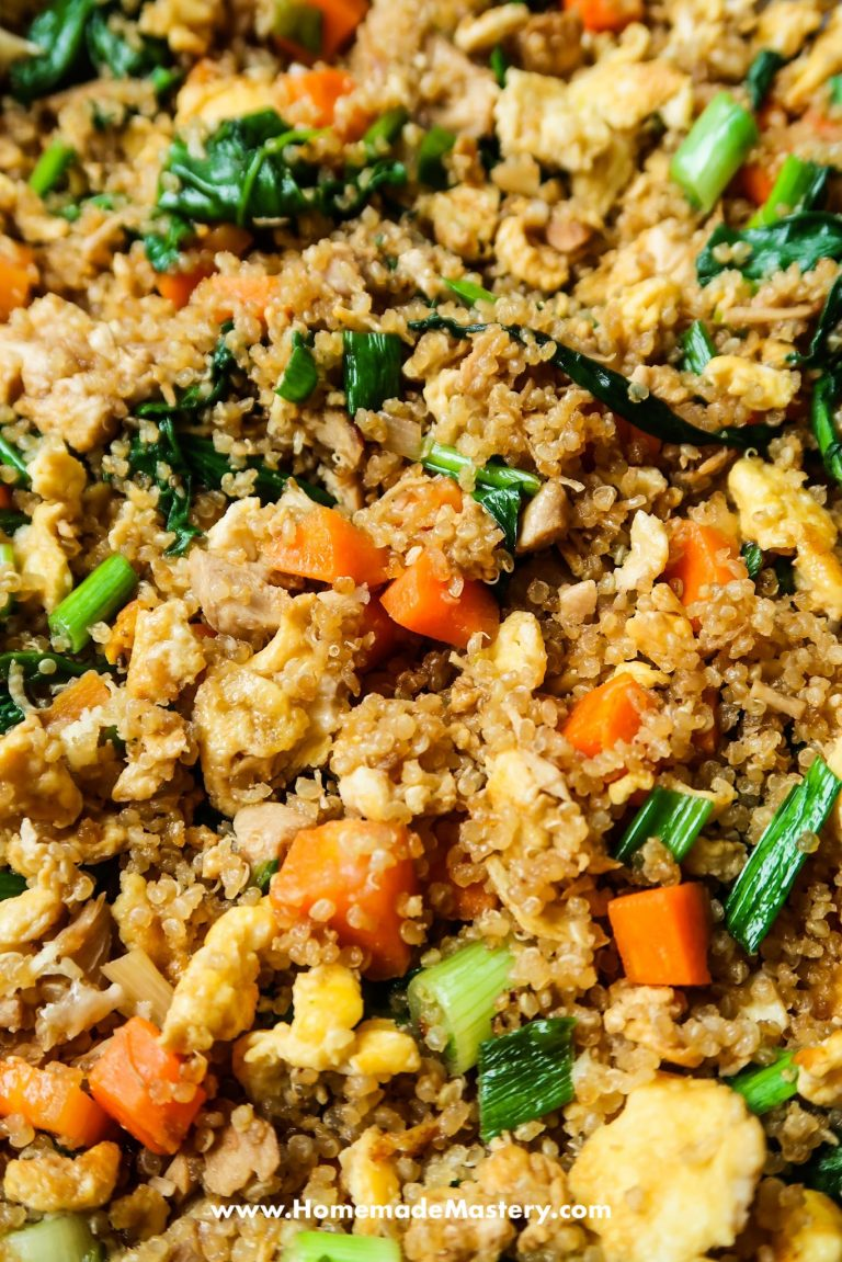 15-Minute Chicken Quinoa Fried Rice Recipe - easy healthy lunch idea