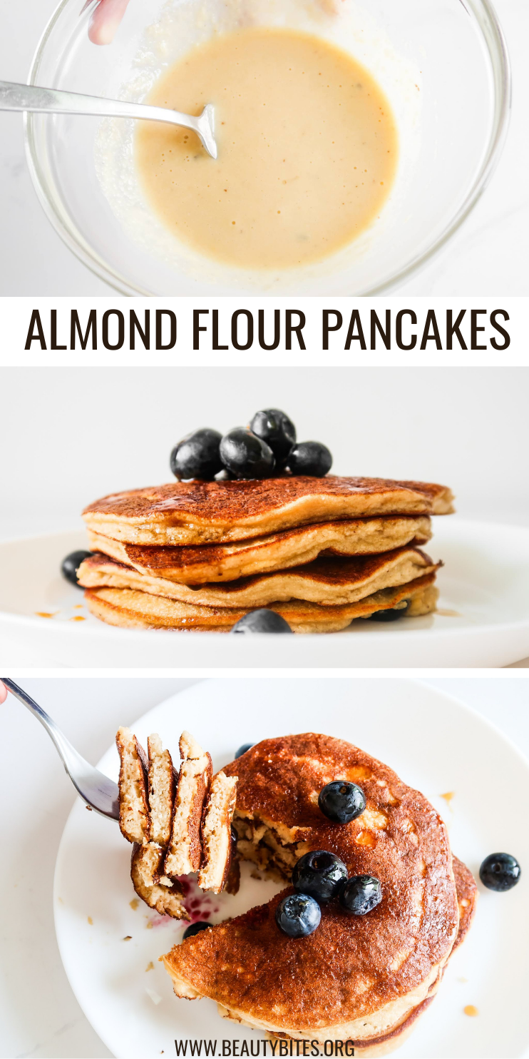 This paleo almond flour pancake recipe is super quick and easy and the result is a stack of fluffy and super delicious gluten free pancakes for one! Perfect healthy breakfast idea for any day of the week because these are ready in 10 minutes!