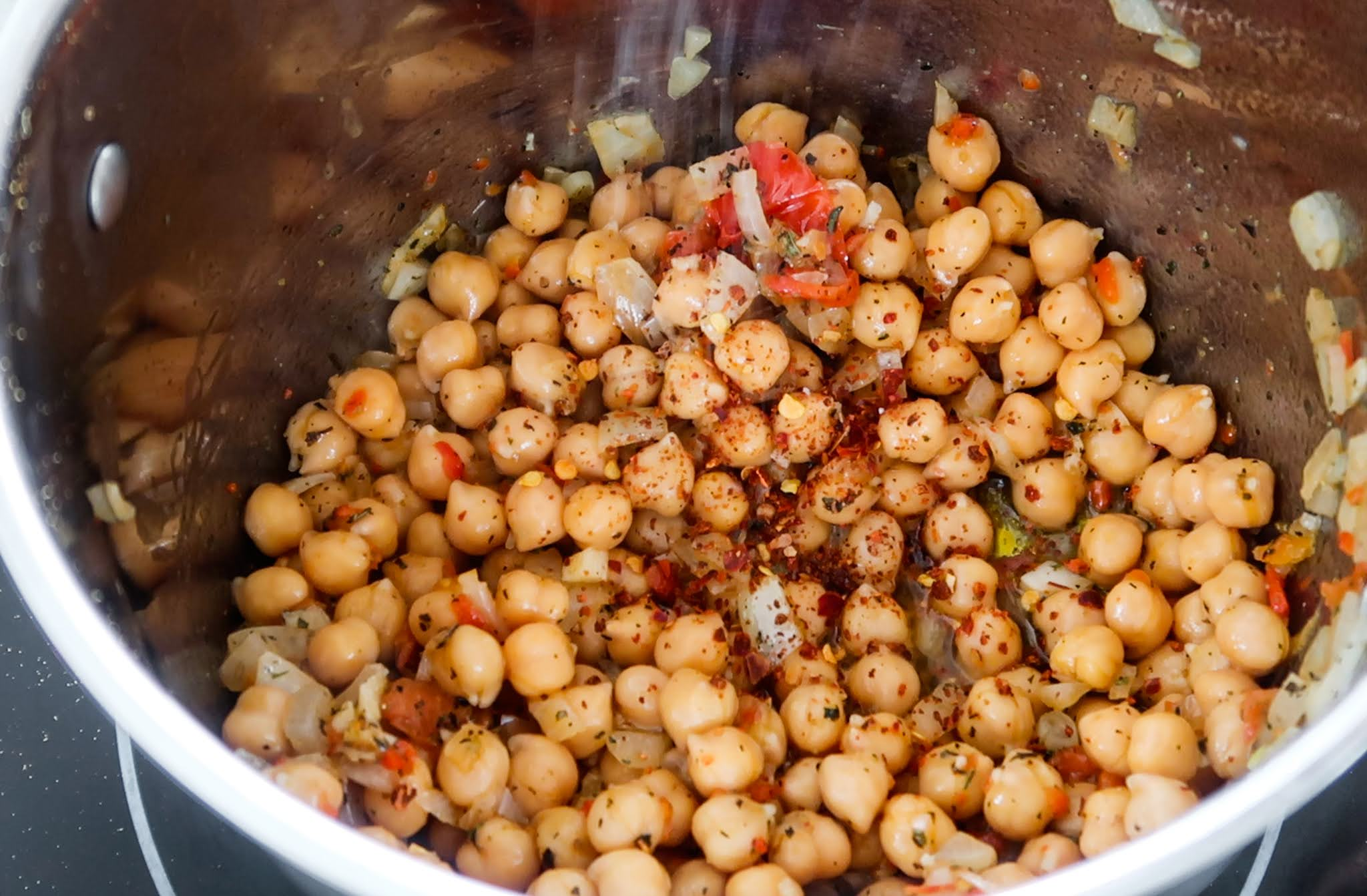 Step 3: Add chickpeas
