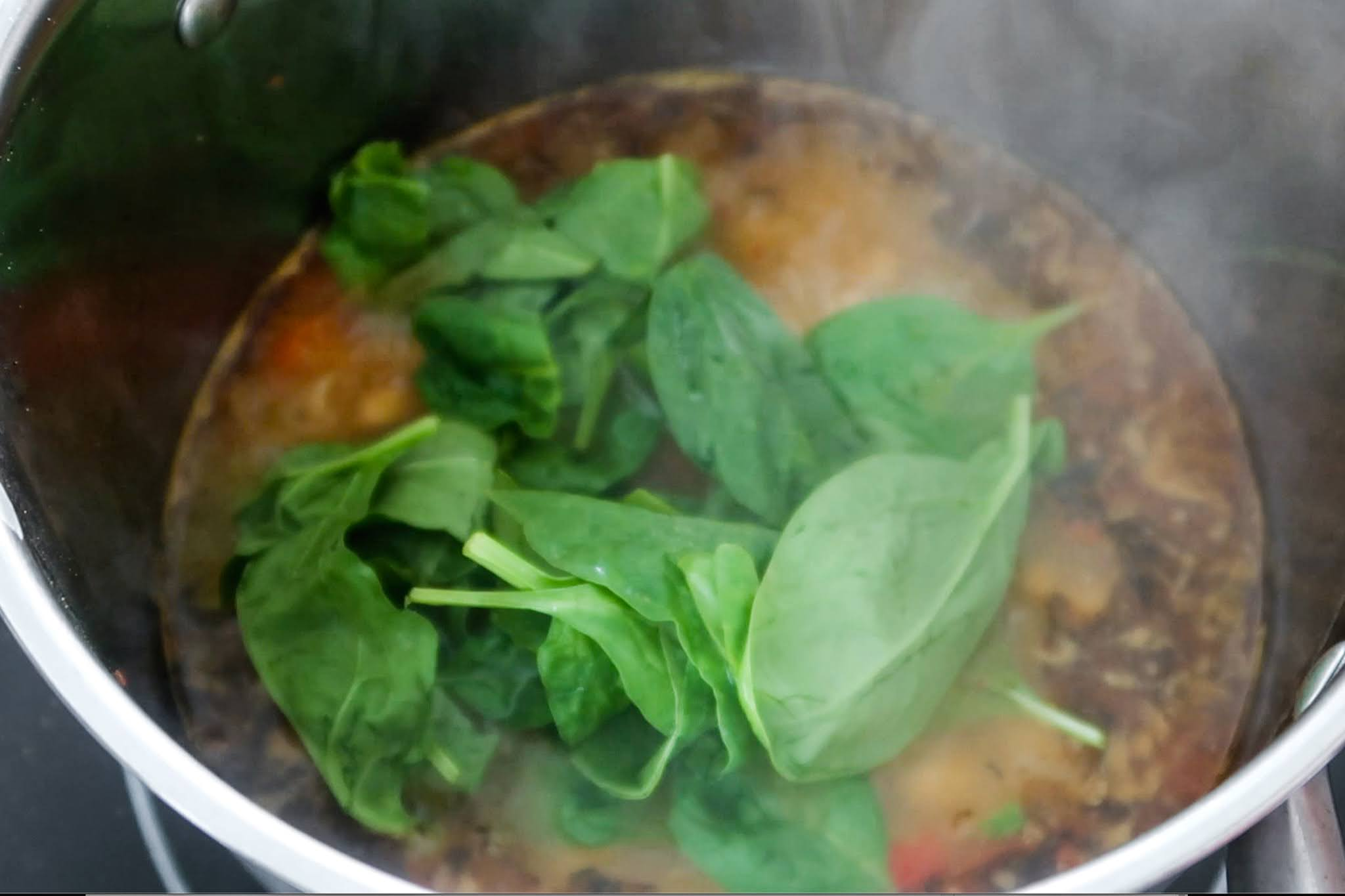 Step 4: add spinach