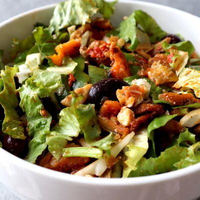 This super delicious fall chicken salad recipe with roasted pumpkin or sweet potatoes is now one of my favorite easy healthy lunch ideas! No matter the season, this is a great healthy salad that you can enjoy!