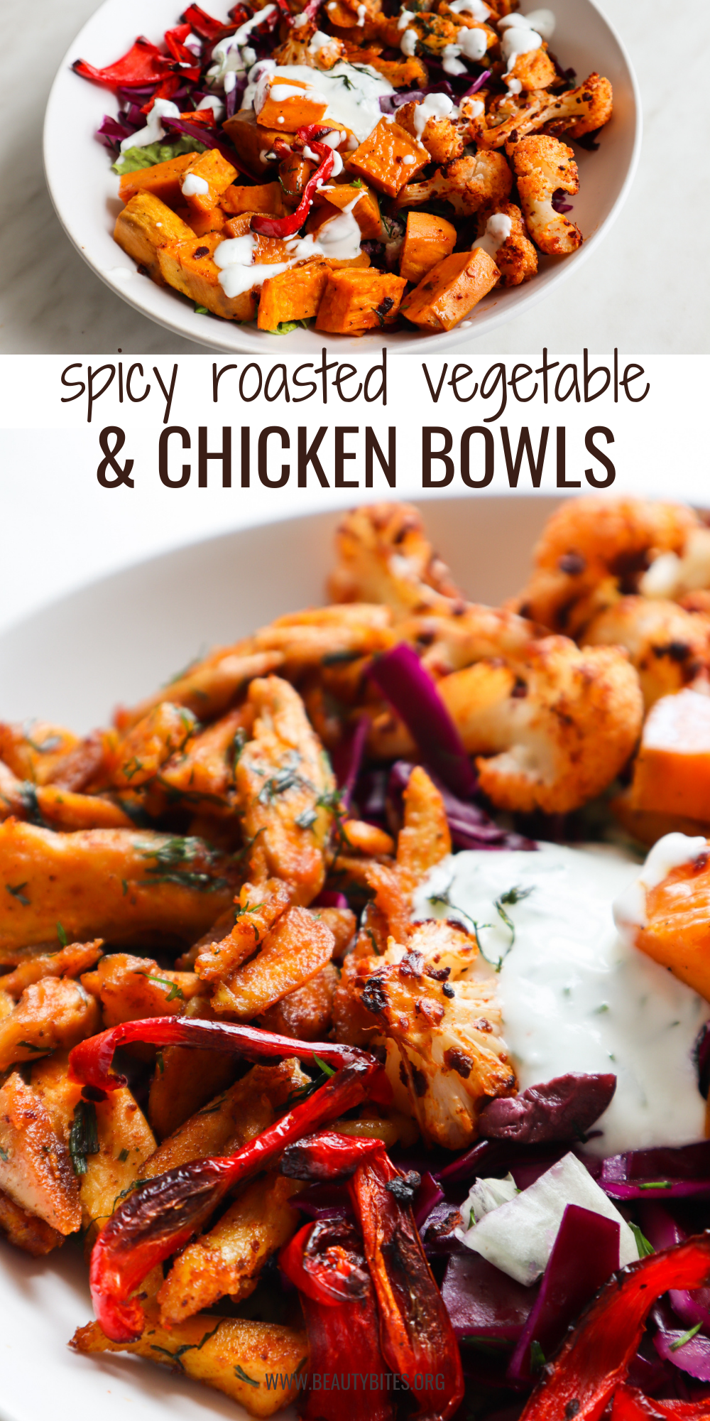 You'll love this delicious healthy dinner idea for healthy spicy chicken and roasted vegetable bowls! These chicken bowls are easy to make and perfect for meal prep and clean eating.