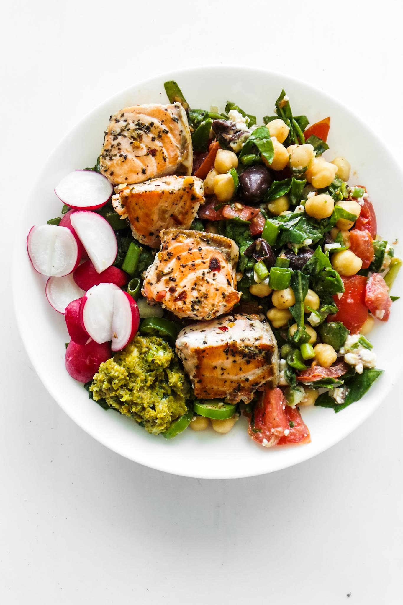salmon bowls with chickpea salad - gluten free dairy-free dinner recipe