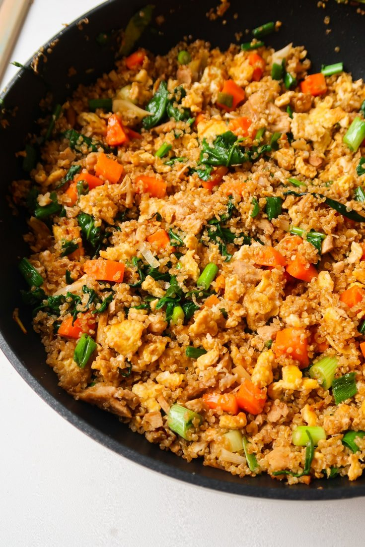 quinoa fried rice with chicken - gluten and dairy free dinner idea