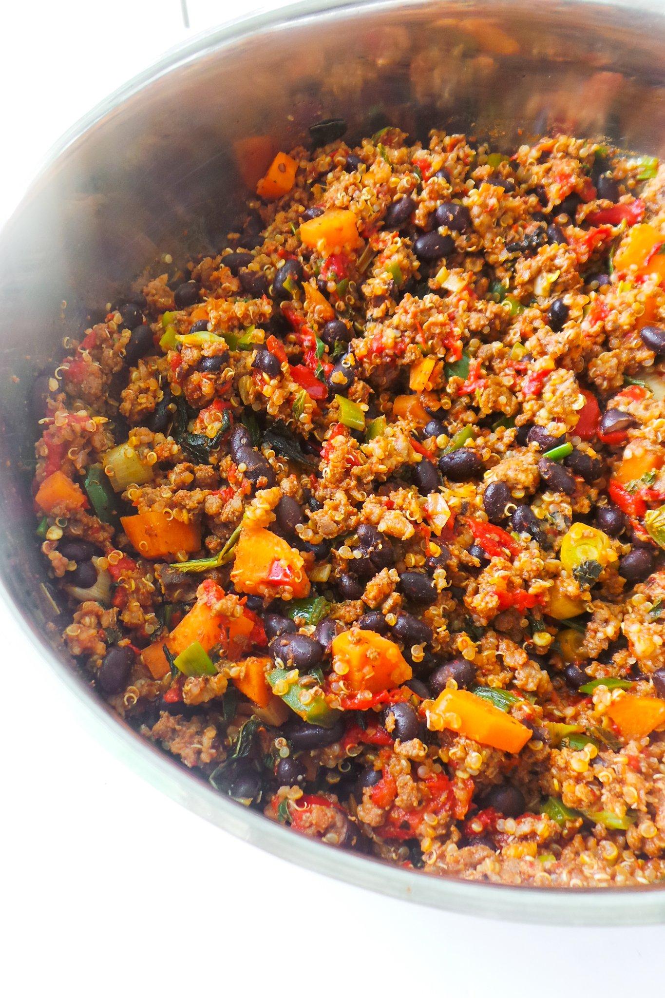 ground beef and quinoa dinner skillet