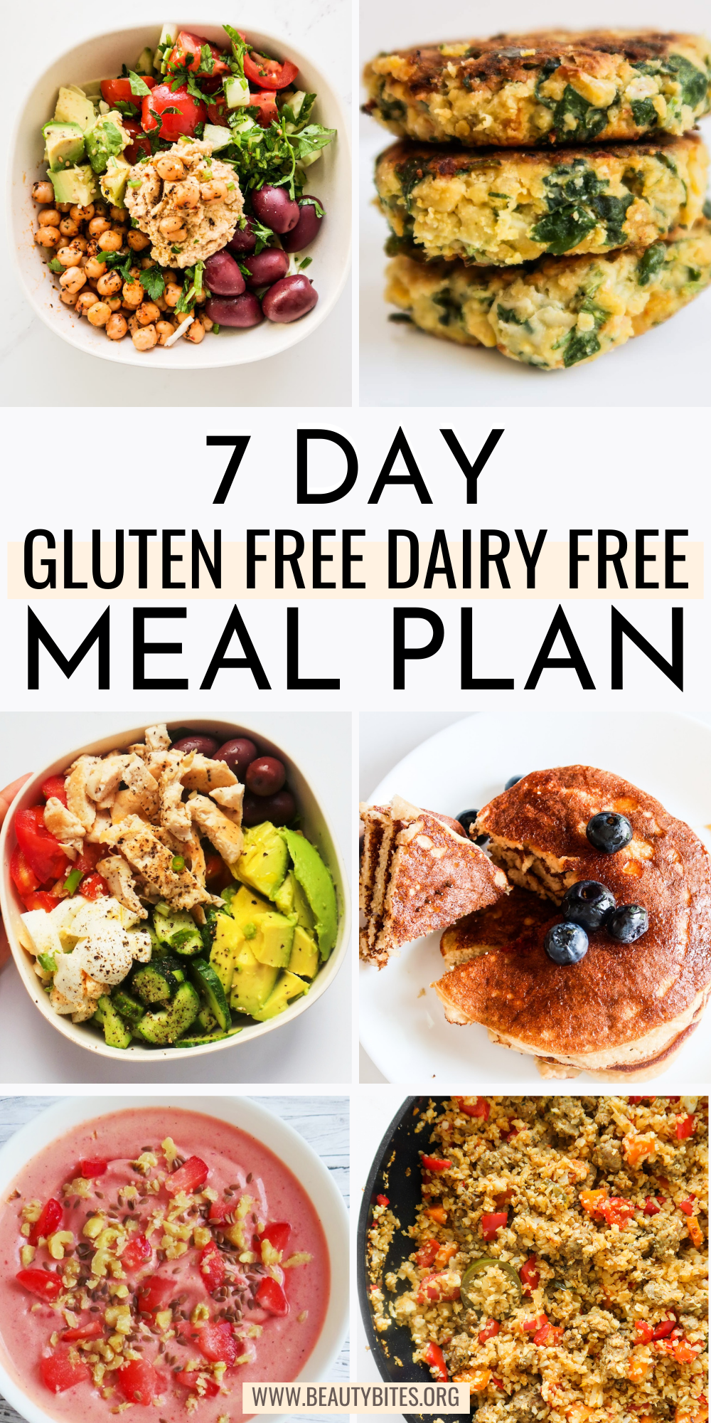 A 7-day dairy free gluten free meal plan with grocery list and clean eating recipes for breakfast, lunch and dinner!
