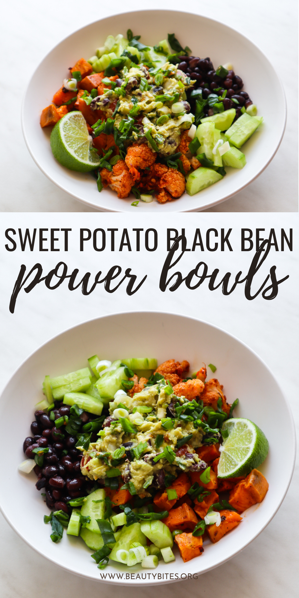 These sweet potato black bean power bowls are full of flavor and really easy to make. You'll love these healthy vegan power bowls as a healthy gluten free vegan dinner idea or lunch recipe!