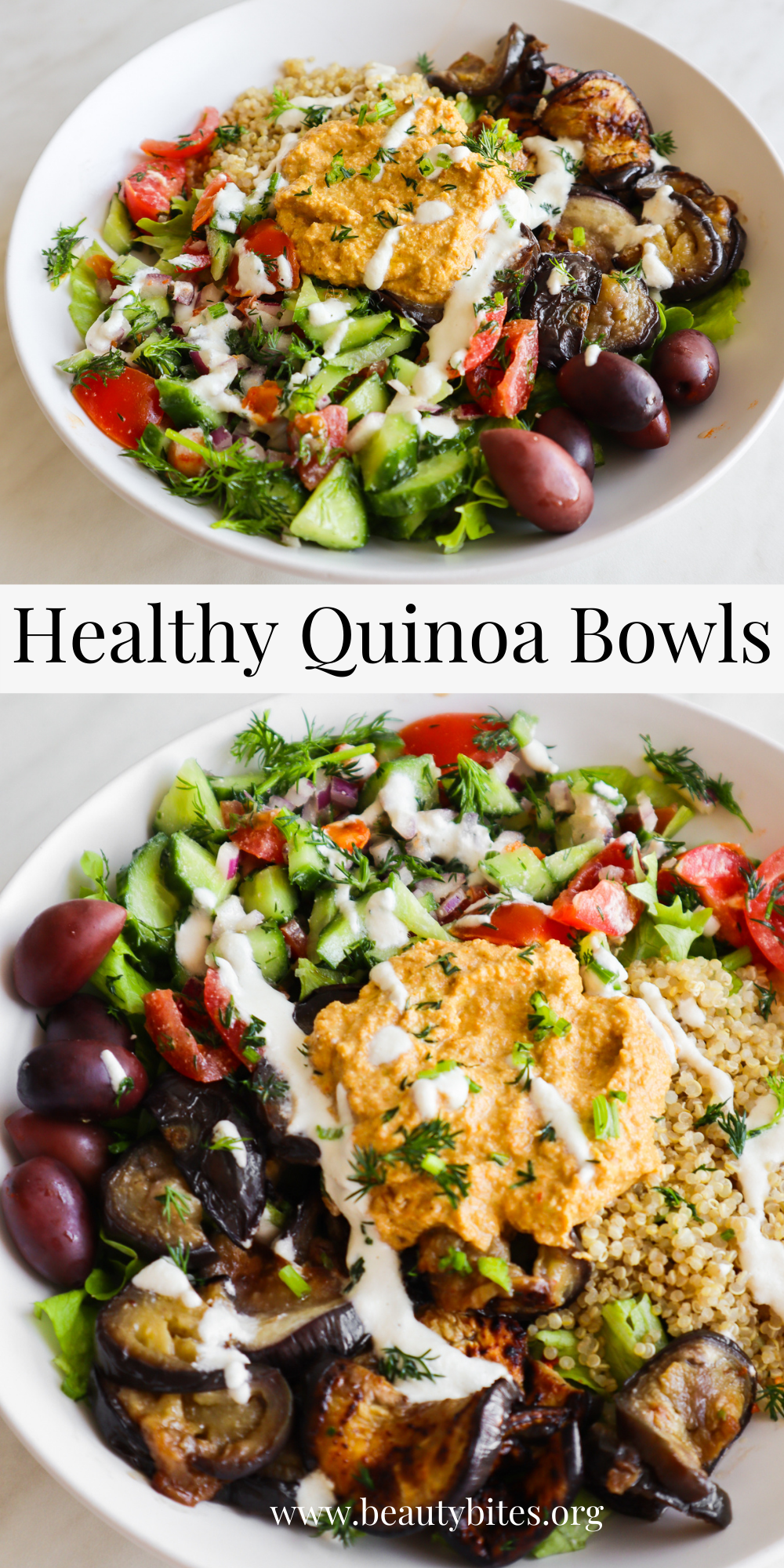 Healthy quinoa bowls - a tasty, easy and healthy vegan dinner idea that you need to try if you're looking for easy quinoa recipes! These healthy power bowls are filled with a roasted vegetable sauce, quinoa, a healthy salad, and are nourishing and delicious! Perfect clean eating recipe to meal prep for the week!