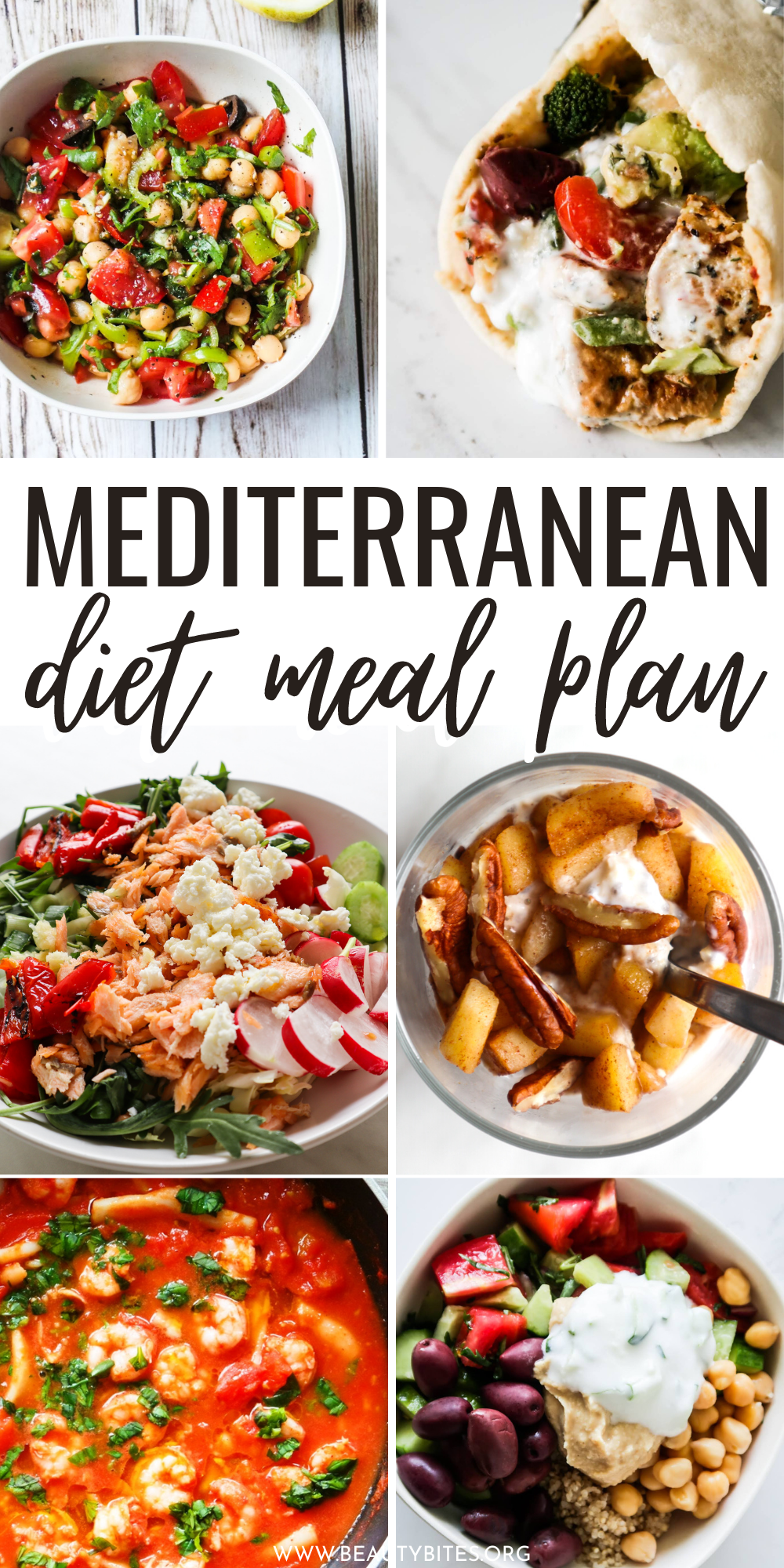 7-Day Mediterranean diet meal plan with healthy Mediterranean recipes for breakfast, lunch, dinner and snacks and a Mediterranean diet grocery list.