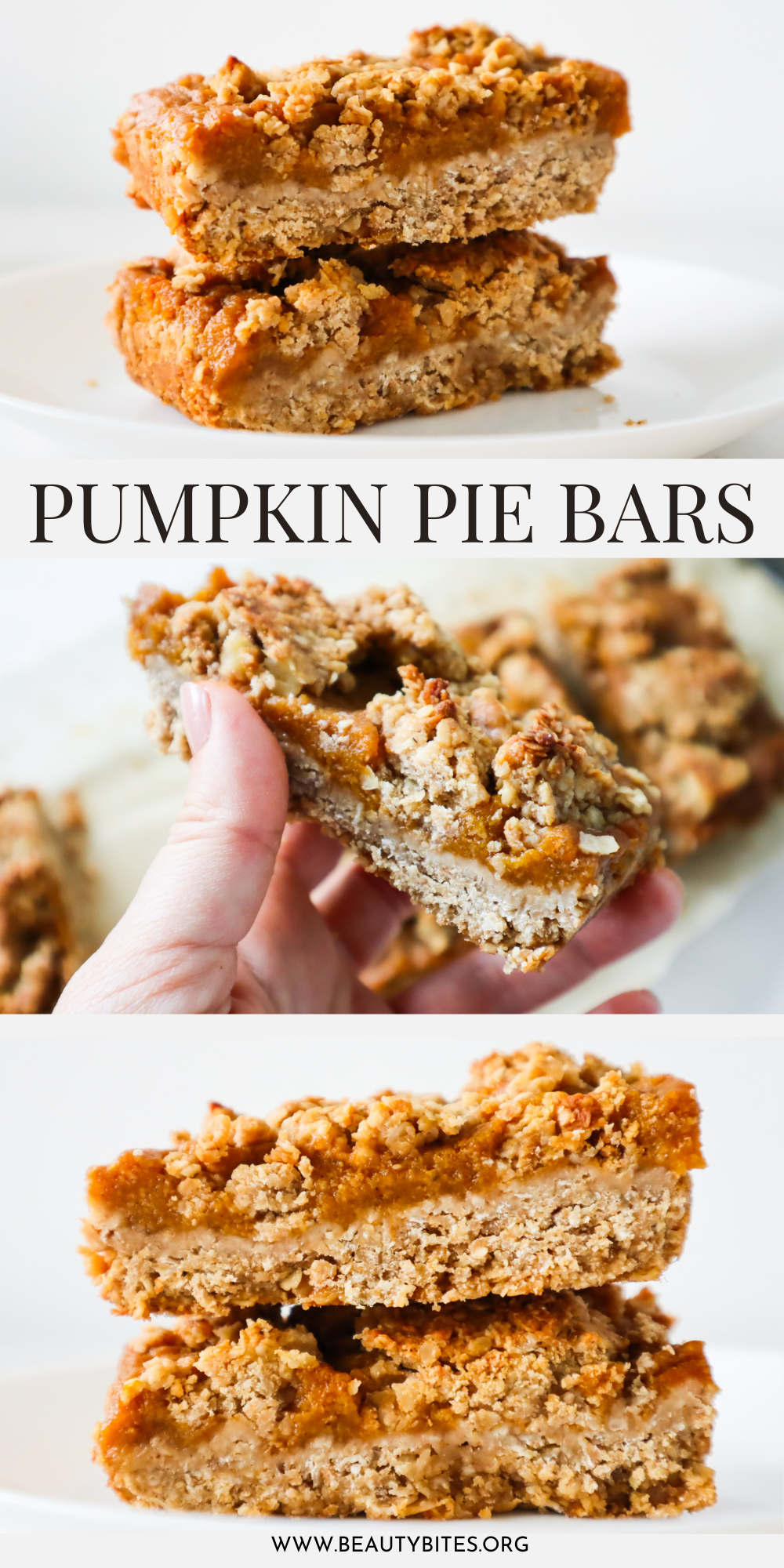 Easy vegan pumpkin pie bars! These healthy pumpkin bars are a delicious pumpkin recipe that you can make with simple ingredients like oats, pumpkin puree and coconut oil. The dessert for this pumpkin dessert is made with oats and the entire recipe is gluten free and dairy free!